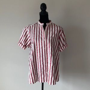 Zara red metallic and off white striped top (s)
